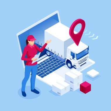 Isometric Logistics and Delivery Infographics. Delivery home and office. City logistics. Online Express, Free, Fast Delivery, Shipping concept icon