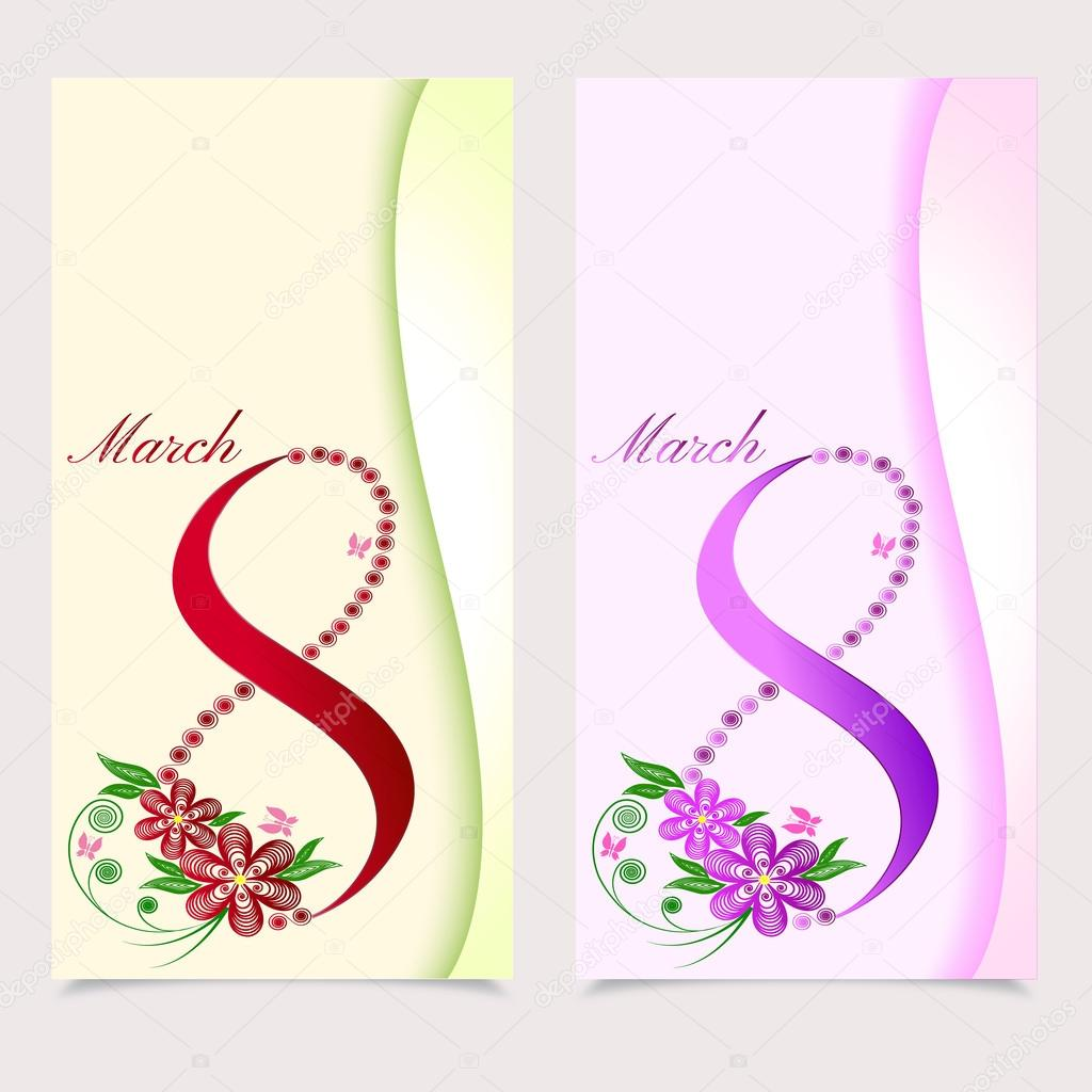 8 March. Greeting card. Vector Illustration