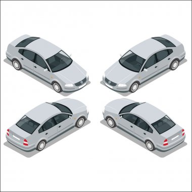 Flat 3d isometric high quality city transport icon set. Gray car. Sedan automobile.