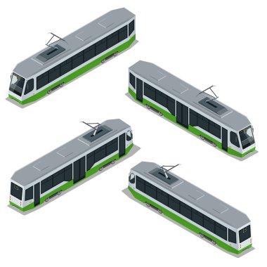 Flat 3d isometric high quality city transport icon set. Vector Modern Tram