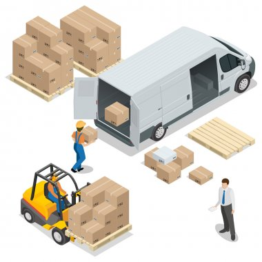 Warehouse. Loading and unloading from warehouse. Delivery and logistic, storage and truck, transportation industry, delivery and logistic. Vector isometric illustration.