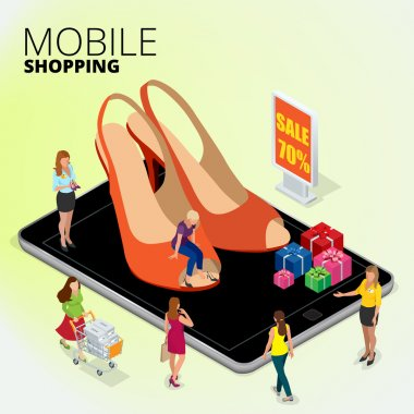 Fashion boutique shop online, Woman using digital tablet to shop online, women shopping for shoes in a shoes store, Flat 3d vector isometric illustration