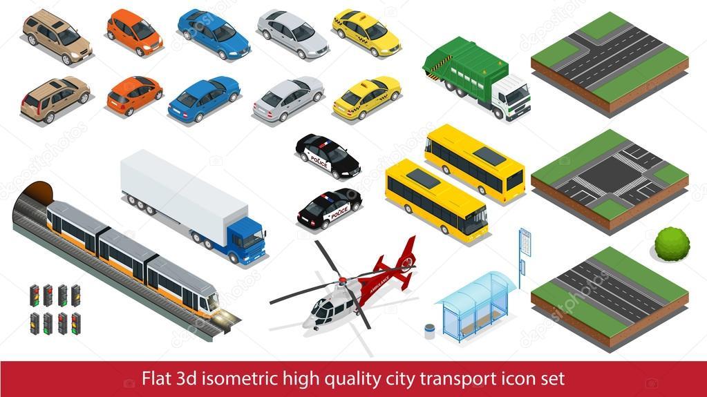 Isometric high quality city transport icon set Subway train, Police, taxi truck car Mini, sedan helicopter, street road, tram, sedan, Building mixer, ambulance. Flat 3d Vector isometric illustration