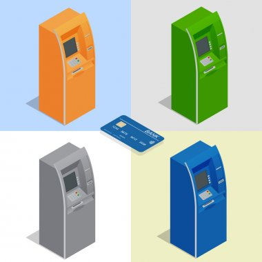 ATM machines. Payment using credit card. Banking finance money. Isometric vector illustration for infographics. Flat icon set.