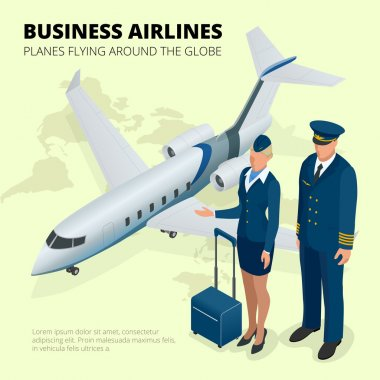 Business airlines, Planes flying around the globe. Flat 3d isometric vector illustration
