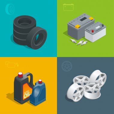 Tire service car auto, repair icons flat 3d set isolated vector isometric illustration. Consumables for car