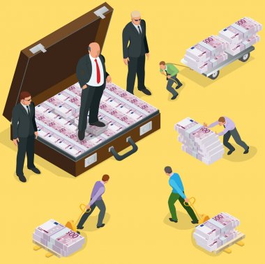 Debts on loans. People gives back debts on loan. Five hundred euro banknote. Flat 3d vector isometric illustration. Business concept