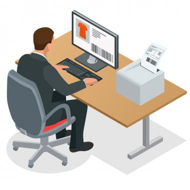 Businessman looking at the laptop screen. Businessman at work. Man working at the computer. Order from China. Flat 3d vector isometric illustration