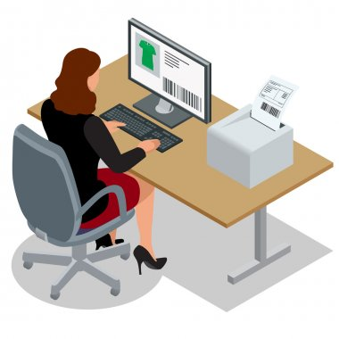 Business woman looking at the laptop screen. Business woman at work. Woman working at the computer. Order from China. Flat 3d vector isometric illustration