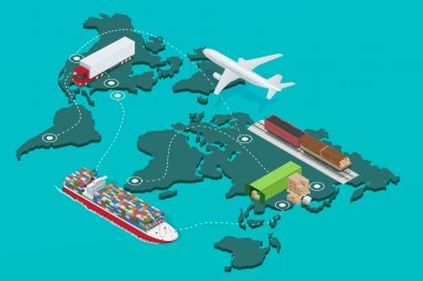 Global logistics network Flat 3d isometric  illustration Icons set of air cargo trucking rail transportation maritime shipping On-time delivery Vehicles designed to carry large numbers of cargo