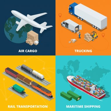 Logistic realistic icons set of air cargo, trucking, rail transportation, meritime shipping. On-time delivery. Delivery and logistic. Vector isometric illustration.