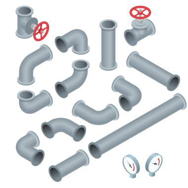 Vector 3d flat isometric illustration collection of detailed Construction Pieces pipes, fittings, gate valve, faucet, ells