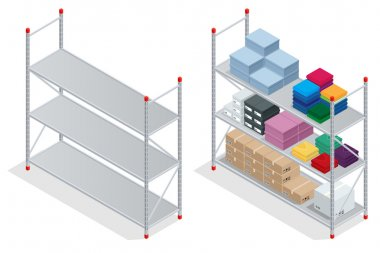 Warehouse interior. Storehouse, goods. Empty warehouse shelves. Flat 3d isometric vector illustration.