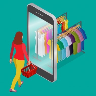 Online shopping and consumerism concept. Mobile grocery shopping e-commerce online store flat 3d web isometric illustration for infographic concept vector electronic business sales.