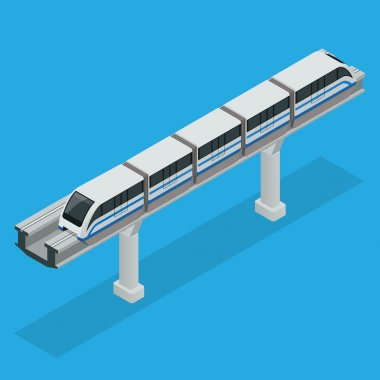 Monorail train. Sky Train. Vector isometric illustration of a Sky Train. Vehicles designed to carry large numbers of passengers. Isolated vector of modern high speed train.