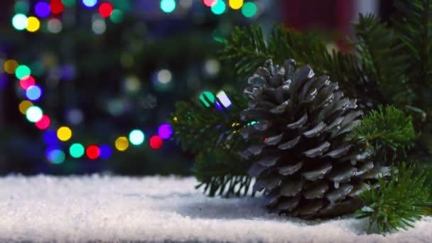 Jedle kužel a vánoční strom větev izolované na světlech pozadí.