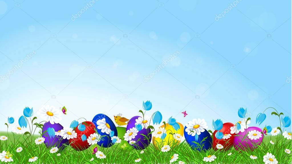 Colorful Easter eggs  and l spring flowers.