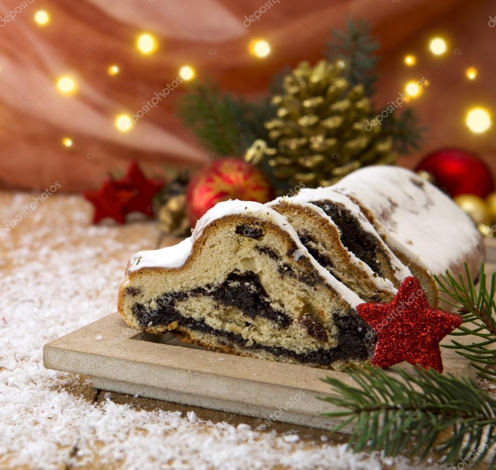 German Christmas Decorations.Traditional German Christmas Cake And Decoration Stock