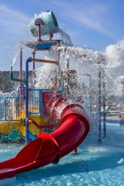 Water park, water slide and spray