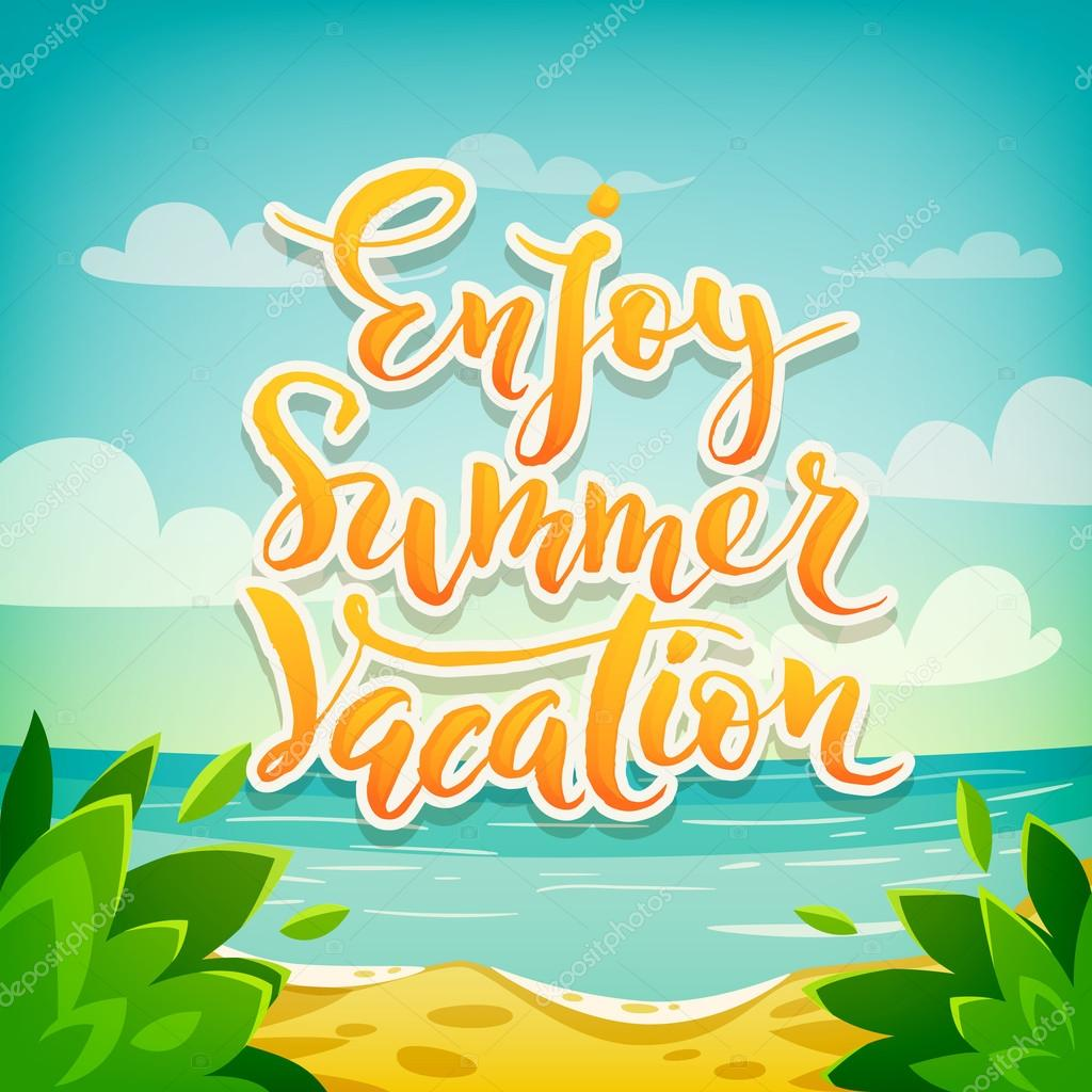 Enjoy Summer Vacation Poster Stock Vector