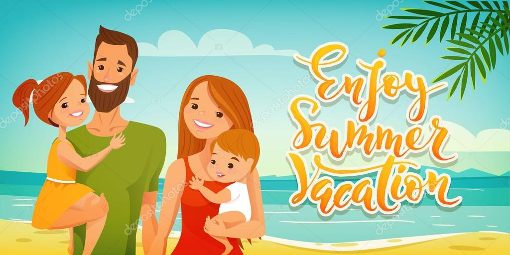 Enjoy Summer Vacation Family Card Stock Vector