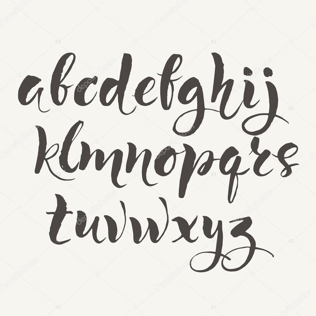 Hand Written Alphabet Modern Calligraphy Brush Pen Vector By Giraffarte