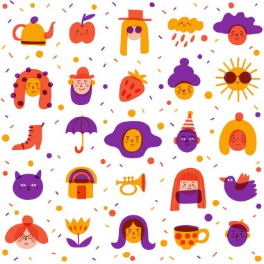 Seamless background with cute portraits and symbols for textile or any prints in doodle marker style. Textile packing paper pattern  doodle icons and symbols in trendy hand drawn style. icon