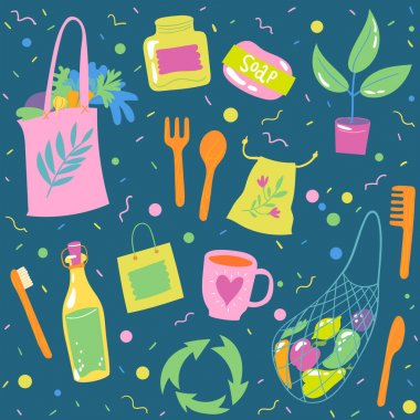Seamless background with ecological symbols and lettering for textile or any prints in doodle style. Textile packing paper pattern  doodle icons and symbols in trendy hand drawn style. icon