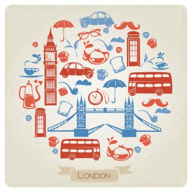 Round pattern with London icons