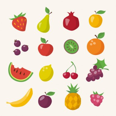 Different fruits in flat style