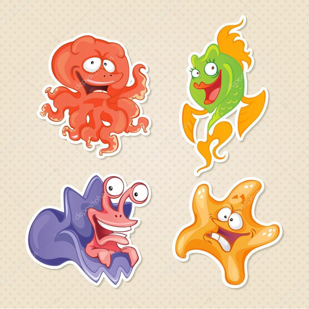 Personaggi dei cartoni animati animali e pesci