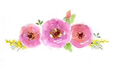 Watercolor flowers design on white background clip art vector