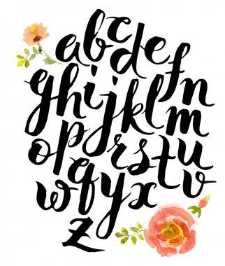 Alphabet written with brush pen