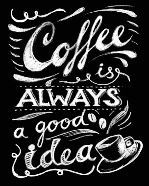 Coffee is always a good idea lettering.