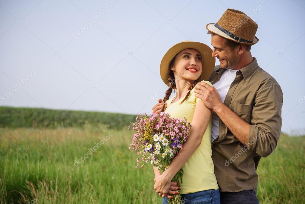 Young Lovers Dating On Meadow Stock Photo Iakovenko123 117518710