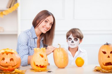 Cheerful friendly family is preparing for nut-crack Night