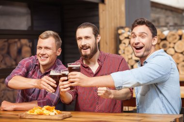 Attractive young guys are resting in sport bar