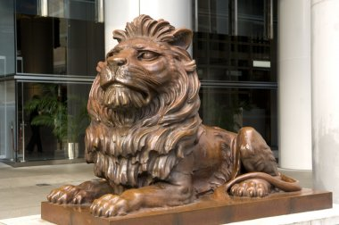 The bronze lion statues of HSBC Main Building created by British sculptor WW Wagstaff Hong Kong Admirlty Central Business Financial Centre Skyline Skyscraper Bank