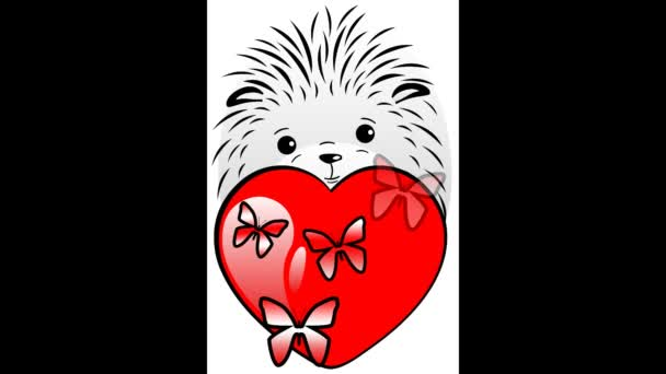 Animation. Hedgehog with heart and butterflies