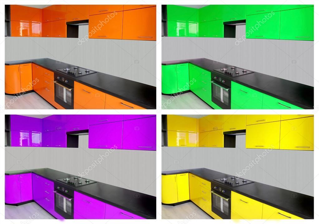 Muebles de cocina en naranja verde morado y amarillo for Muebles de cocina amarillos