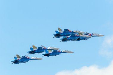 Group flight of six SU-27 at an Airshow with the blue sky.