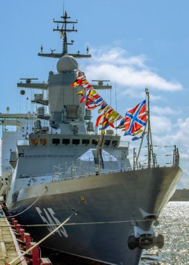 Modern warship Corvette Resistant at the pier in Lenexpo on naval salon in St. Petersburg.