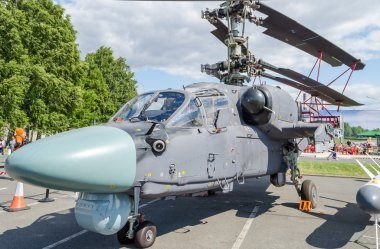 Military helicopter ship-based Ka-52 Kamov, Alligator on Maritime exhibition in St. Petersburg