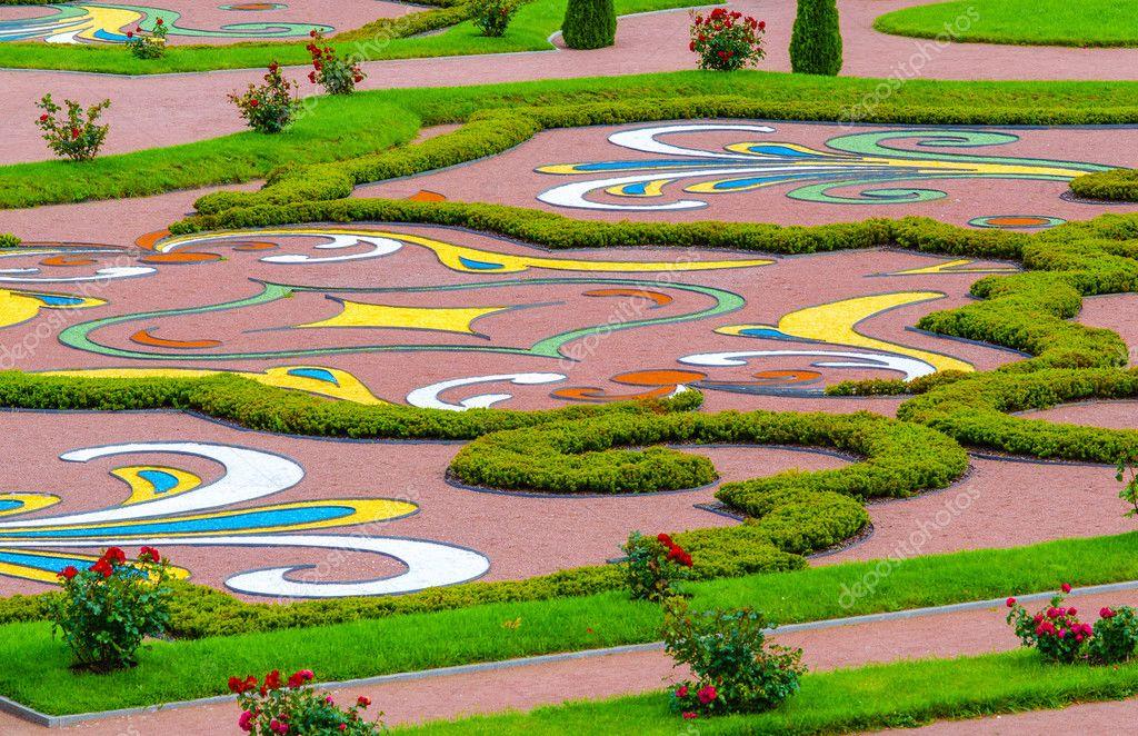Man-made patterns, designs, and mazes adorn the Palace in Oranienbaum, near St. Petersburg.