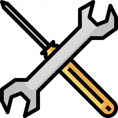 Wrench and Screwdriver icon. Tools vector icon
