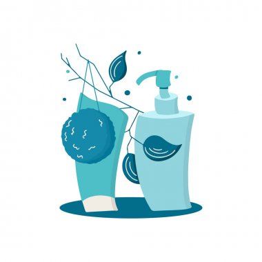 Monochrome cosmetic set of face cleansers. Hand drawn vector illustration of bottles with cleansing oil, foam, sponge and twig. Design concept for skin care icon