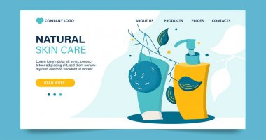 Website template, landing page on beauty theme. Design concept with cleansing cosmetic products, vector illustration. icon
