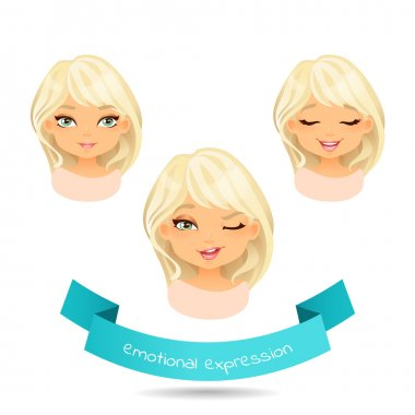 Cute blue eyed blonde with various facial expressions. Set of different emotion: smile, joy,wink. Cartoon cute girl  with different expressions of emotion. Vector illustration isolate on white. stock vector