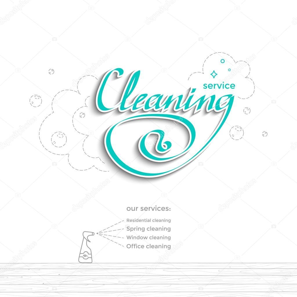 Reinigung-Dienst-Vorlage — Stockvektor © Tiki_Bu #105466996