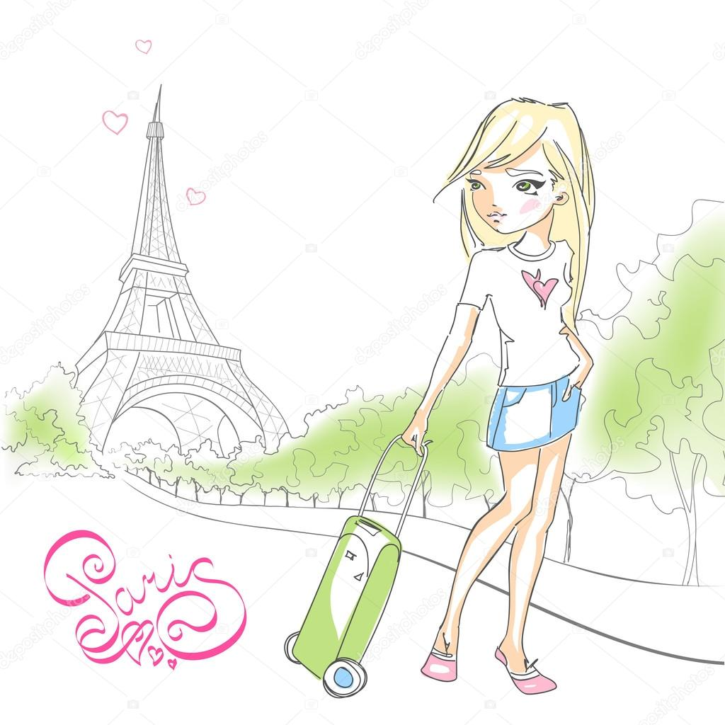 Cute Girl With A Suitcase On Background Of The Eiffel Tower Lettering Paris France European Vacation Hand Drawn Vector Illustration Isolated White